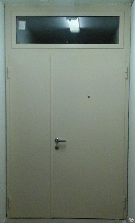 двери металлические стальные с остеклением и фрамугой